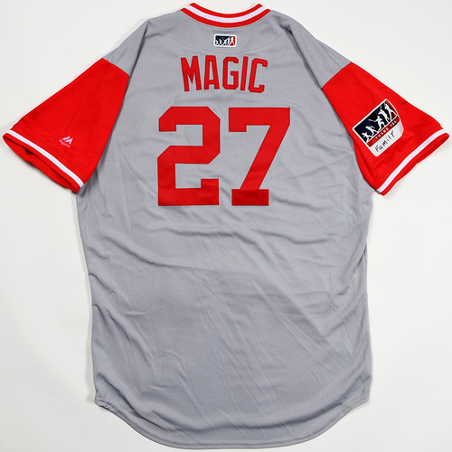 "Photo of Phillip ""Magic"" Ervin Cincinnati Reds Game-Used 2018 Players' Weekend Jersey"