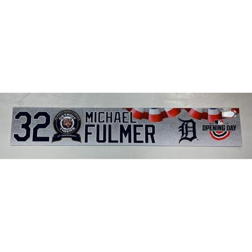 Photo of Game-Used 2018 Opening Day Locker Name Plate: Michael Fulmer