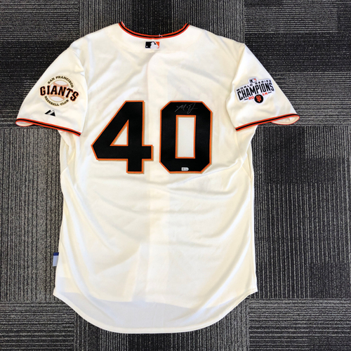 Photo of Autographed Authentic Jersey with 2014 World Series Champions Patch Signed by #40 Madison Bumgarner - Size 48