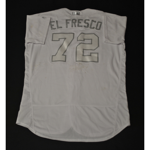 """Photo of Meibrys """"EL FRESCO"""" Viloria Kansas City Royals Game-Used 2019 Players' Weekend Jersey"""