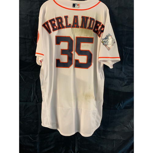 Photo of Justin Verlander 2019 World Series Game 2 Game-Used Home White Jersey - Size 48