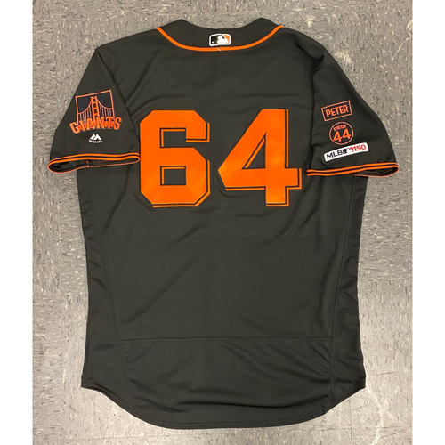Photo of 2019 Game Used Jersey - Fiesta Gigantes Black Home Alternate Jersey - used by #64 Shaun Anderson on 9/14 vs MIA - 0.1 IP - Size 48