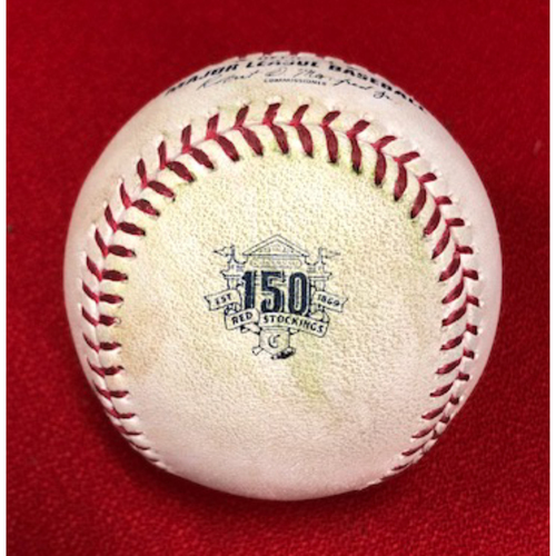 Photo of Game-Used Baseball -- 04/24/2019 -- ATL vs. CIN -- 4th Inning -- Roark to McCann (Single); to Inciarte (Single); to Soroka (Line Out); to Albies (Ball in Dirt)