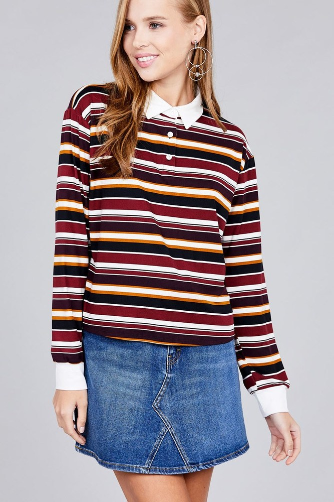 Photo of Serenity Ladies fashion plus size long sleeve multi striped dty brushed shirts