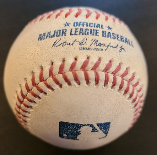 Photo of Authenticated Game Used Baseball: Single by Mike Trout against Joel Payamps (Apr 9, 2021 vs LAA). Top 7. Game played in Dunedin, FL.