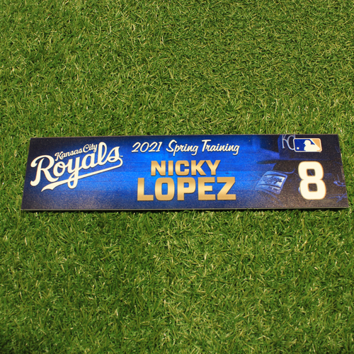 Photo of Team-Issued 2021 Spring Training Locker Tag: Nicky Lopez #8