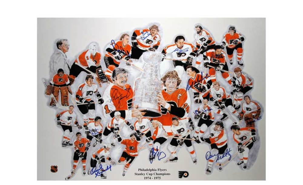Philadelphia Flyers 12 PLAYER SIGNED Stanley Cup 20x30 Lithograph *CLARKE-PARENT-BARBER-ETC*