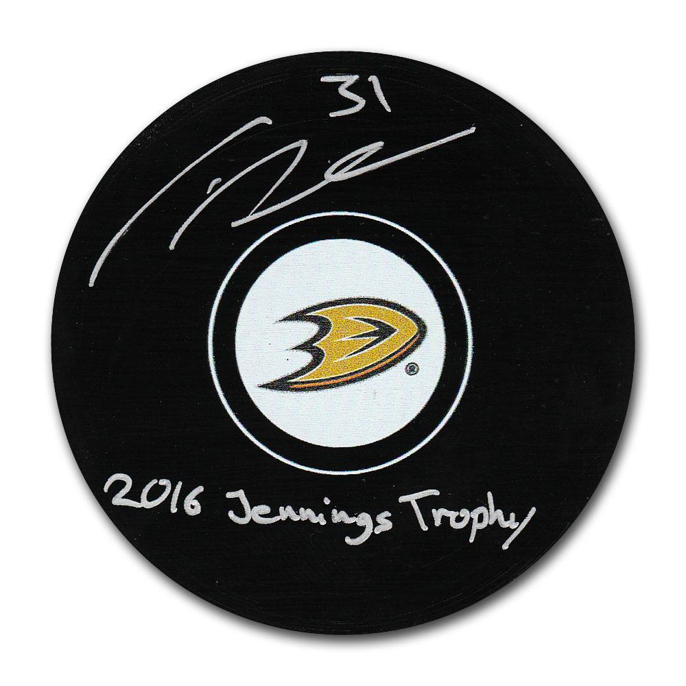 Frederik Andersen Autographed Anaheim Ducks Puck w/2016 JENNINGS TROPHY Inscription