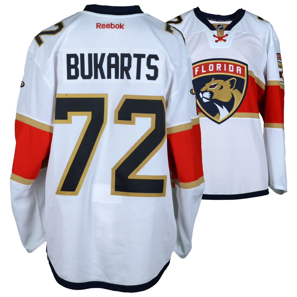 Rihards Bukarts Florida Panthers Player-Issued #72 White Jersey from the 2016-17 NHL Season - Size 54