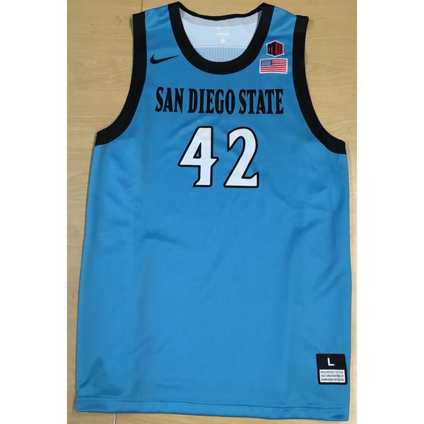 Photo of Game-Worn SDSU Nike N7 Native Night Basketball Jersey: Turquoise #42