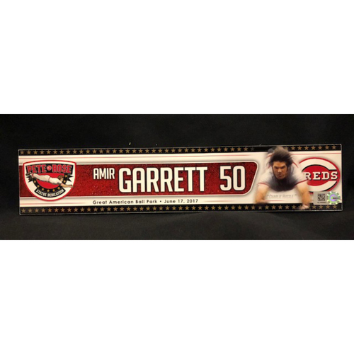 Photo of Amir Garrett - Team-Issued Locker Tag - Used for Reds Hall of Fame Statue Dedication