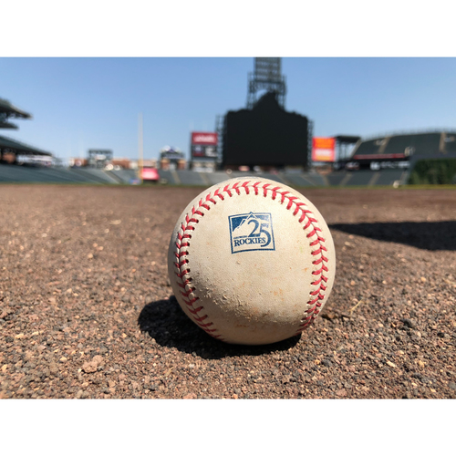 Photo of Colorado Rockies Game-Used Baseball - Marquez v. Bour - Single to Cuevas - June 24, 2018