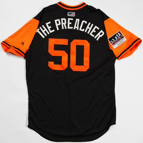 "Photo of Ty ""The Preacher"" Blach San Francisco Giants Game-Used 2018 Players' Weekend Jersey"