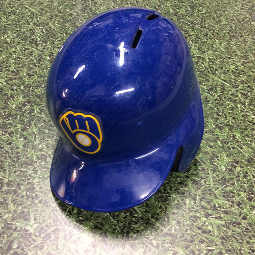 Photo of Domingo Santana 2017 Game-Used Royal Ball & Glove Batting Helmet