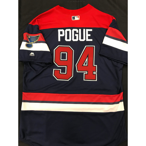 Photo of Jamie Pogue Team Issued 2019 St. Louis Blues Themed Cardinals Jersey (Size 48)