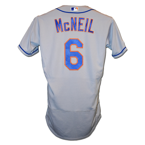 Photo of Jeff McNeil #6 - Game Used Road Grey Jersey - 2-4, HR (22), BB, RBI and 2 Runs Scored - Mets vs. Rockies - 9/18/19