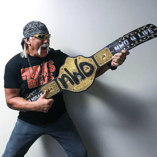Photo of Hollywood Hogan SIGNED nWo Signature Series Championship Replica Title