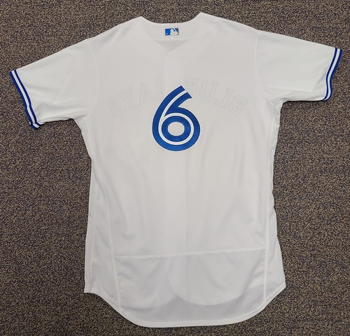 Photo of Authenticated Team Issued 2020 Summer Training Camp Jersey: #6 Travis Shaw. Size 46.