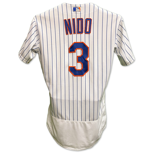 Photo of Tomas Nido #3 - Team Issued White Pinstripe Jersey with Seaver Patch - 2020 Season