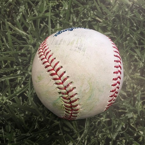 Photo of Game-Used Baseball LAD@MIL 05/02/21 - Patrick Weigel - Chris Taylor: Single