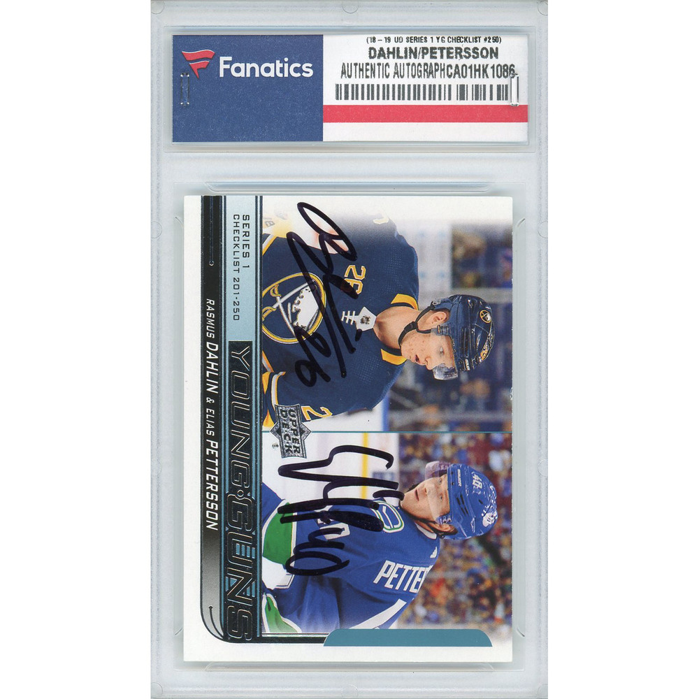 Elias Pettersson & Ramsus Dahlin Autographed 2018-19 Upper Deck Series One #250 Young Guns Checklist Card