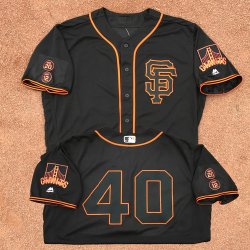 Photo of San Francisco Giants - Game-Used - 2016 Black Saturday Jersey - Madison Bumgarner - Worn on 8/13/16 - 7 IP, 0 ER, 3 H, 8 SO, 96th CAREER WIN (Also 8/27/16) - Jersey Size - 50