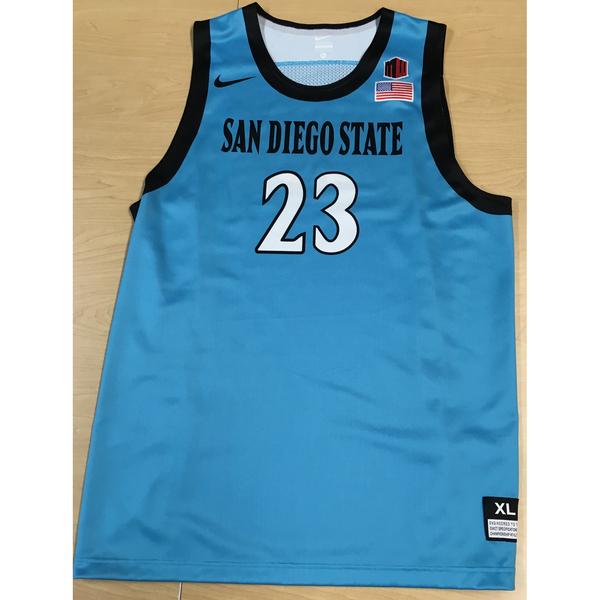 Photo of Game-Worn SDSU Nike N7 Native Night Basketball Jersey: Turquoise #23