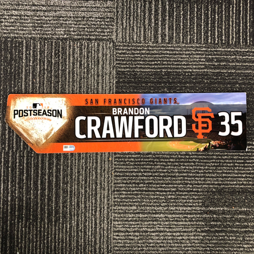 Photo of San Francisco Giants - 2016 Postseason Game Used Locker Tag - Brandon Crawford