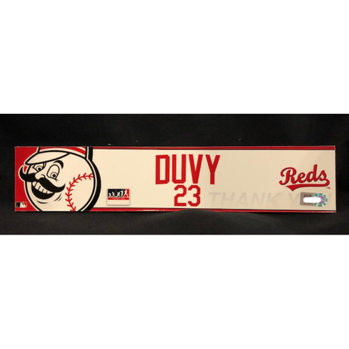 "Photo of Adam Duvall - ""DUVY"" Team-Issued Locker Tag - Used During Players Weekend Games"