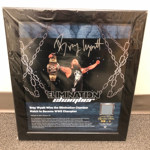 Photo of Bray Wyatt SIGNED Elimination Chamber 2017 Signature Series Ring Canvas Plaque (#3 of 5)