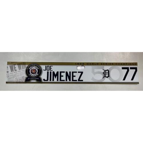 Photo of Game-Used 1968 50th Anniversary Game Locker Name Plate: Joe Jimenez