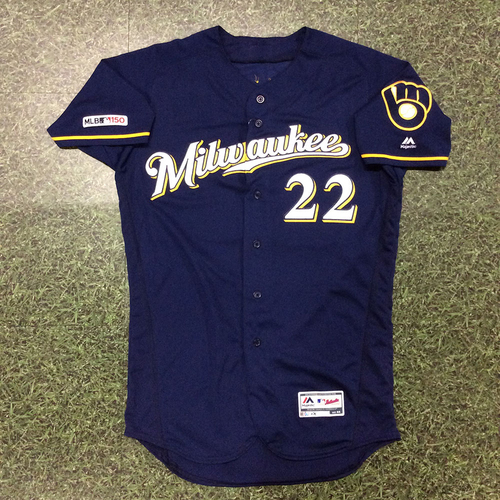 Photo of Christian Yelich 05/05/19 Game-Used Navy Ball & Glove Jersey - 15th HR (2-Run HR to Third Deck)