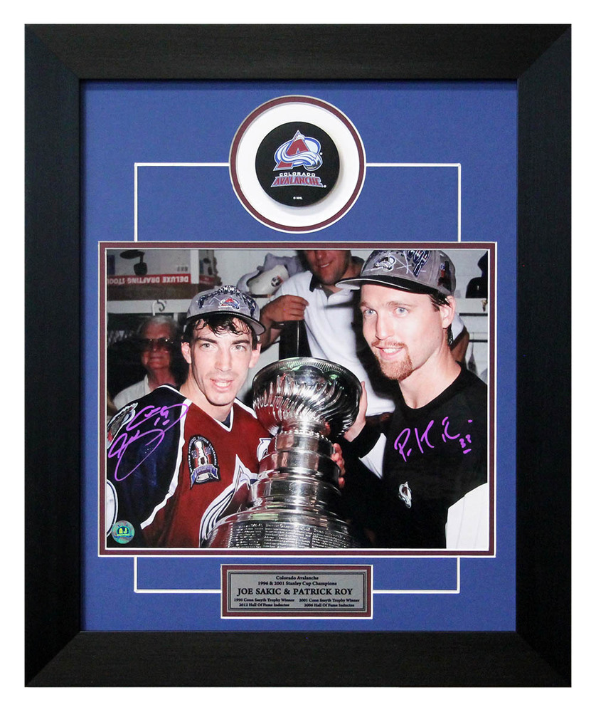 Joe Sakic & Patrick Roy Colorado Avalanche Signed Stanley Cup 20x24 Puck Frame