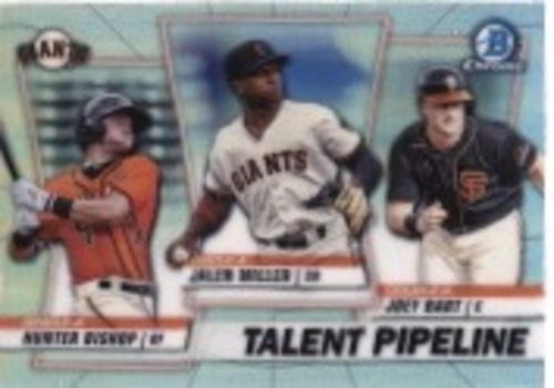 Photo of 2020 Bowman Chrome Talent Pipeline #TPSFG Hunter Bishop/Joey Bart/Jalen Miller
