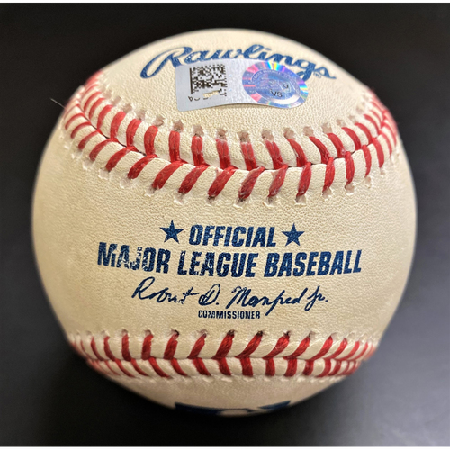 Photo of Game-Used Baseball:  Mike Moustakas Cincinnati Reds Hit By Pitch to end Tyler Alexander's MLB Record Consecutive Strikeout Streak (MLB AUTHENTICATED)