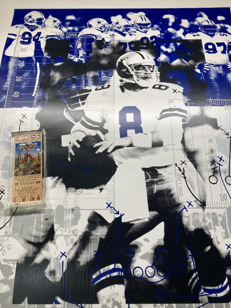 Cowboys Bundle - TROY AIKMAN SIGNED POSTER + SUPER BOWL XXX SAND PAPERWEIGHT