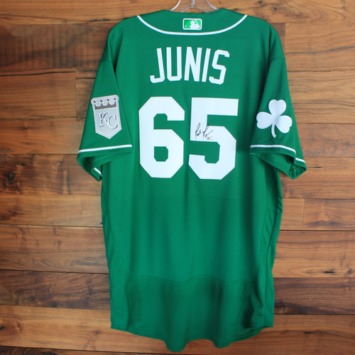 Photo of Autographed 2020 St. Patrick's Day Jersey: Jakob Junis #65 - Size 48