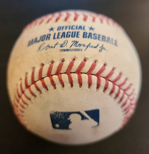 Photo of Authenticated Game Used Baseball: Triple by Shohei Ohtani against Steven Matz (Apr 10, 2021 vs LAA). Top 1. Game played in Dunedin, FL. 1st Blue Jays Win in Dunedin Game.