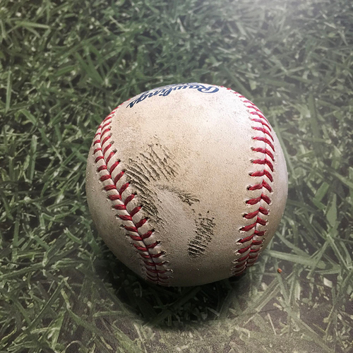 Photo of Game-Used Baseball ATL@MIL 05/15/21 - Brett Anderson - Ozzie Albies: RBI Double (11)