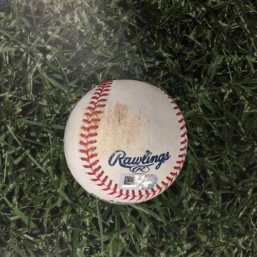 Photo of Game-Used Baseball ARI@MIL 06/05/21 - Brandon Woodruff - Eduardo Escobar: Strikeout