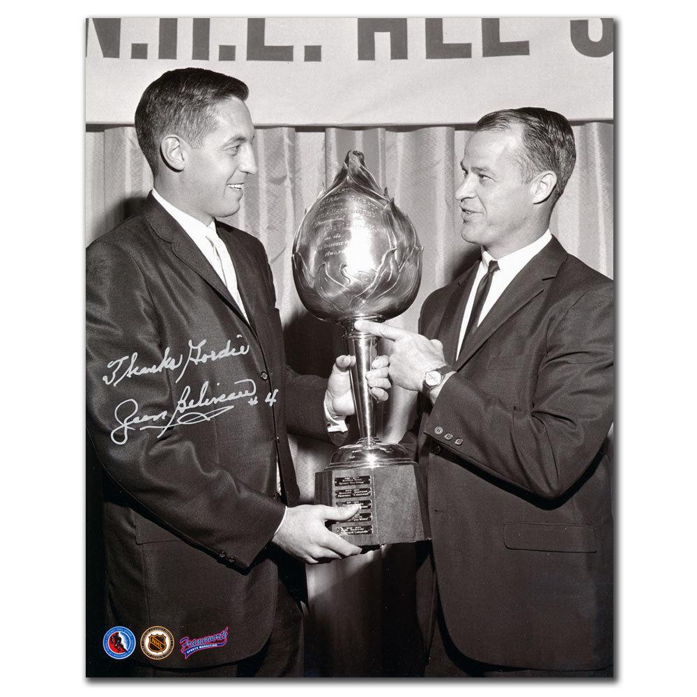 Jean Beliveau Montreal Canadiens Hart Trophy w/ Howe Autographed 8x10