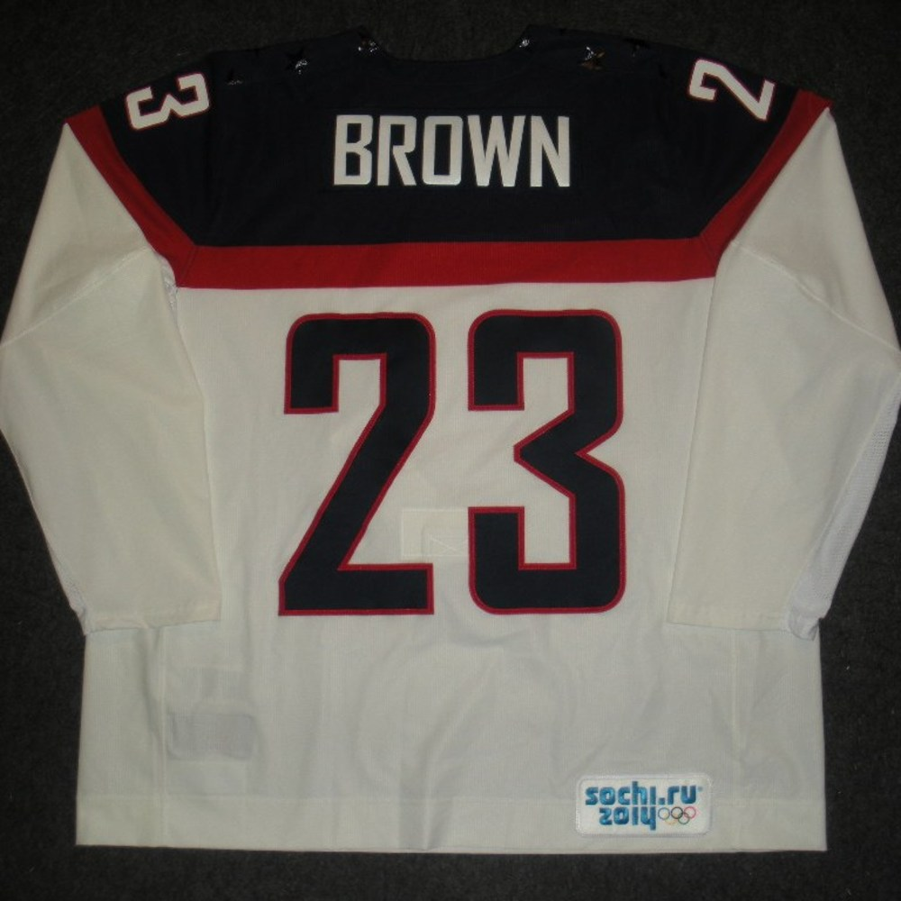 Dustin Brown - Sochi 2014 - Winter Olympic Games - Team USA White Game-Worn Jersey - Worn in Warmups and 1st Period vs. Slovakia, 2/13/14