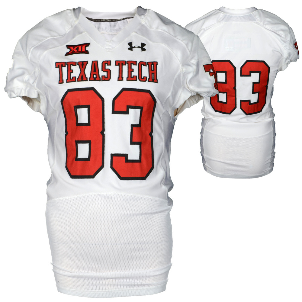 Texas Tech Red Raiders Game-Used White #83 Jersey Used During Victories Against Arkansas and Texas during the 2015 Season - Size 46