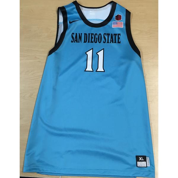 Photo of Game-Worn SDSU Nike N7 Native Night Basketball Jersey: Turquoise #11