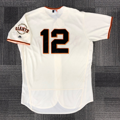 Photo of San Francisco Giants - 2017 Game Used Jersey used by #12 Joe Panik on 9/12/17, 9/17/17,  9/20/17 and 10/1/17