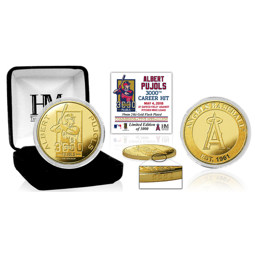Photo of Albert Pujols 3000 Career Hits Gold Mint Coin