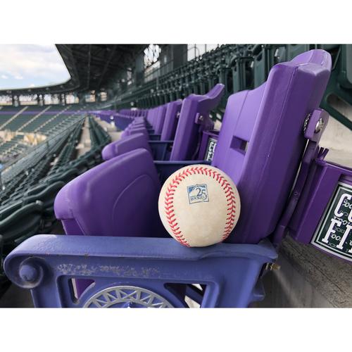 Photo of Colorado Rockies Game-Used Baseball - Hoffman v. Cabrera - Single to Blackmon - June 18, 2018