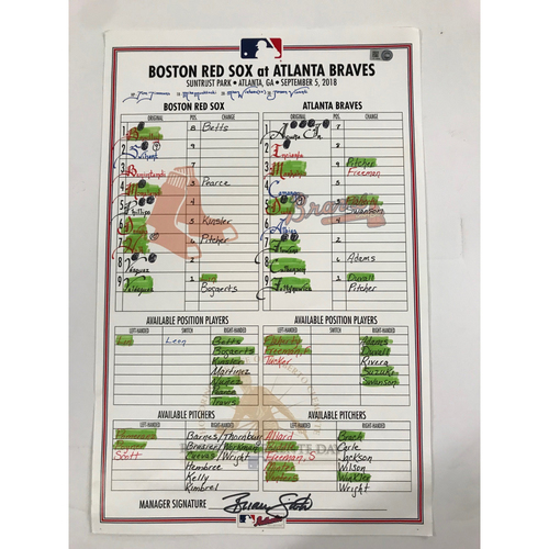 Photo of 9/5/18 Game-Used Lineup Card - Red Sox at Braves