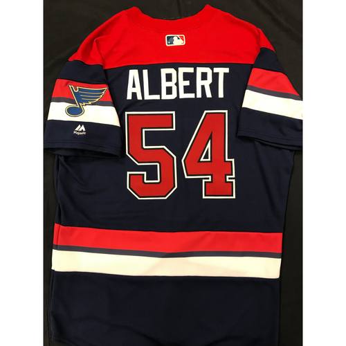 Photo of Jeff Albert Team Issued 2019 St. Louis Blues Themed Cardinals Jersey (Size 44)
