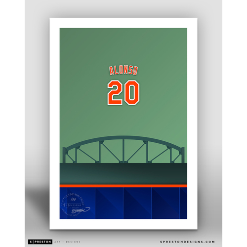 Photo of Minimalist Citi Field Pete Alonso Player Series Art Print by S. Preston - Limited Edition